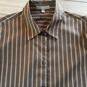 FOXCROFT Wrinkle Free Brown Striped Shirt Sz 16W